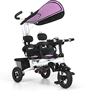 BABY JOY 4 in 1 Twins Kids Baby Tricycle 2 Children Bicycle W/Safety Double Rotatable Seat, Detachable Awning, Folding Foot Pedals, Enlarged Storage Basket, for Children Age 1 to 5 Years Old