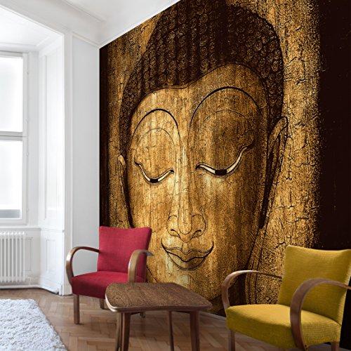 Apalis Vliestapete Smiling Buddha Fototapete Quadrat | Vlies Tapete Wandtapete Wandbild Foto 3D Fototapete für Schlafzimmer Wohnzimmer Küche | Größe: 240x240 cm, braun, 95461