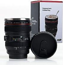 NR MART Camera Lens Shaped Coffee Mug with Lid, 350 ml, Black (Mug_001)