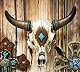 Ebros 12.5' Wide Western Southwest Steer Bison Buffalo Bull Cow Horned Skull Head With Faux Turquoise Diamond And Dream Catcher Feathers With Beads Wall Mount Decor Native Animal Totem Bust Skulls