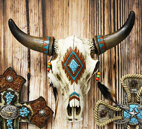 "Ebros 12.5"" Wide Western Southwest Steer Bison Buffalo Bull Cow Horned Skull Head With Faux Turquoise Diamond And Dream Catcher Feathers With Beads Wall Mount Decor Native Animal Totem Bust Skulls"