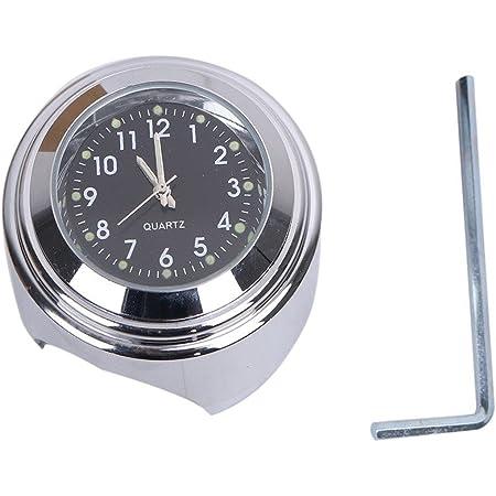"TESWNE 7/8"" Motorcycle Chrome Handlebar Black Dial Clock for Yamaha Suzuki Kawasaki"