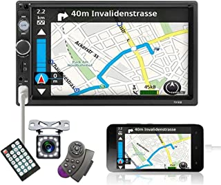 """Double Din Car Stereo 7"""" Touch Screen Car Radio with Bluetooth Backup Camera FM Radio USB AUX TF Card Input Audio Video MP..."""