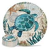 Ceramic Sea Turtle Coasters with Cork Back Set of 6