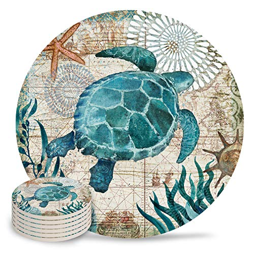 Vandarllin Drink Coasters Sea Turtle Ocean Animal Absorbent Stone Ceramic Coaster with Cork Back and NO Holder for Cups, Set of (6-Piece)