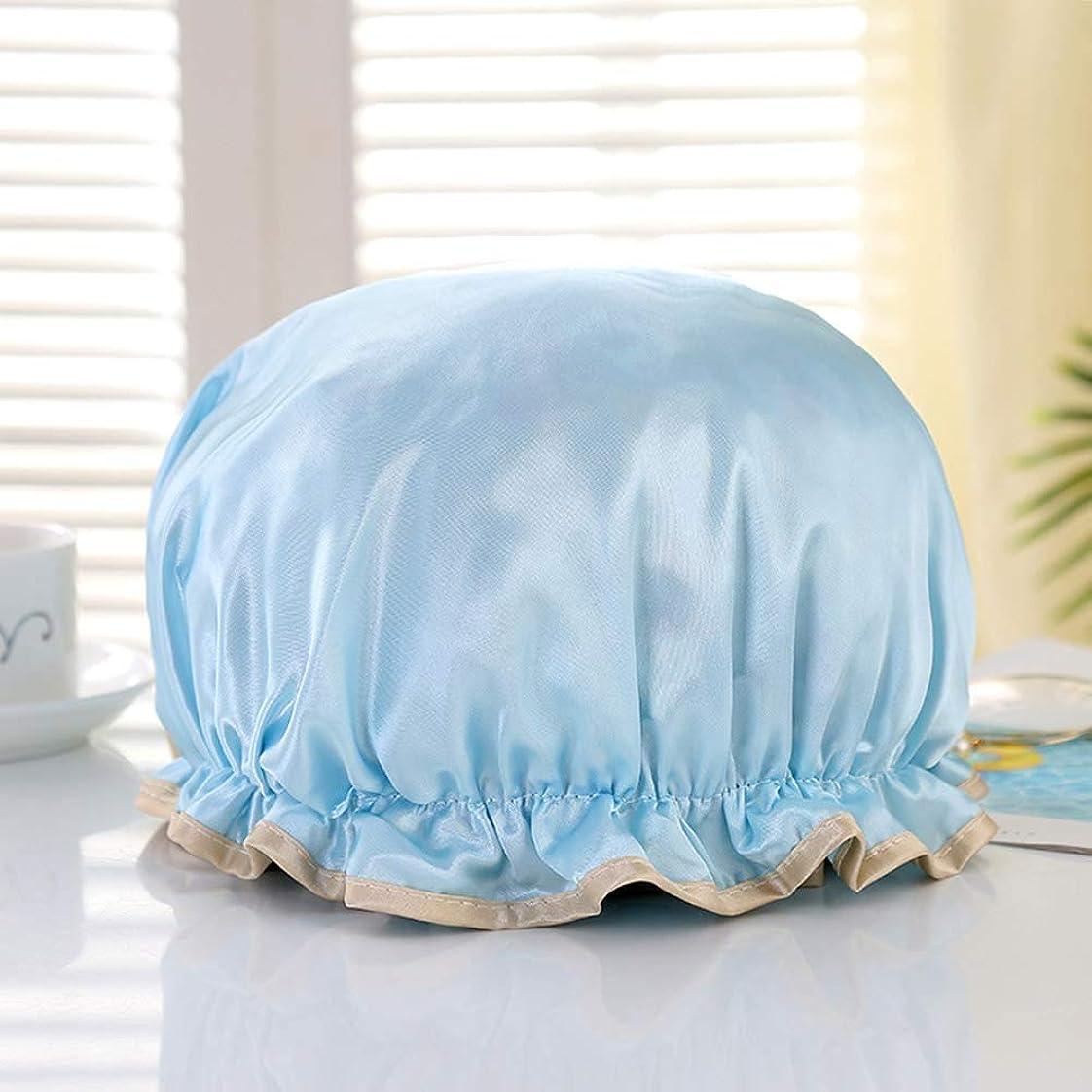 質素なにおい建物Papiroom シャワーキャップ ヘアキャップ ヘアーキャップ ヘアーターバン 入浴キャップ 帽子 お風呂 シャワー用に 浴用帽子 便利 女性 弾性 防水入浴シャワーキャップ 再使用可能(ブルー)
