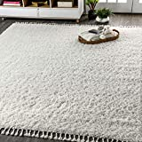JONATHAN Y Mercer Shag Plush Bedroom and Living Room Area Rugs, 8 X 10, White with Tassel