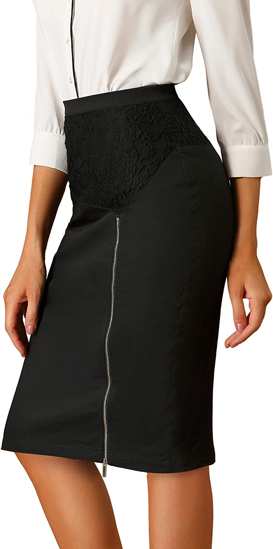 Allegra K Women's Knee Length Pencil Zip Slit Skirt Lace Panel High Waist Work Skirts