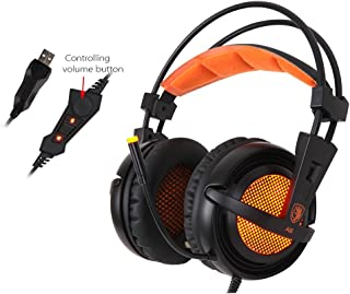 Docooler SADES A6 de Juegos Auriculares con micrófono USB Profesional sobre Juego estéreo de audífonos con cancelación de Ruido de LED y música Auriculares