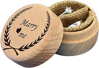 Caja de Anillo de Boda de Madera Personalizada - Nombres Grabados Personalizados Fecha para Proponer Matrimonio Valentines Titular de Anillo de Compromiso