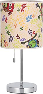 HAITRAL Modern Desk Lamp -Bedside Table Lamp, Nightstand Lamp Perfect Home Decoration for Bedroom, Living Room -Fabric Lamp Shade Printed with Leaves Pattern (HT-ATH11-FYN)
