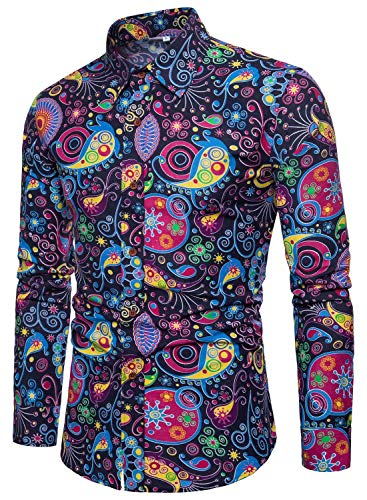 EMAOR Men's Button Front Slim Fit Long Sleeves Floral Print Shirt Tops, CS 56, US X-Large = Tag 6XL