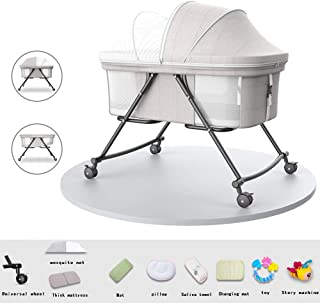 Newborn Crib Baby Bed Multi-Function Cradle Bed Foldable Portable Swing Rocking Chair Baby Nest Cloth Cover Removable Birth Gift