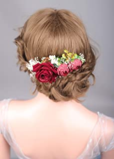 Denifery Floral Crown Red Rose Flower Hair Comb Head Piece Bridal Accessories Wedding Crown for Women Girls Bride Bridesmaid
