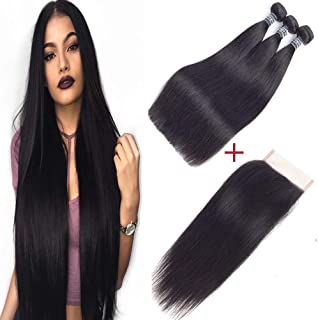 """Amella Hair Brazilian Virgin Straight Human Hair with Lace Closure (16"""" 18"""" 20"""" with 14"""", Natural Color) 8A 100% Unprocessed Straight Brazilian Virgin Hair Weave with 4x4 Swiss Lace Closure"""