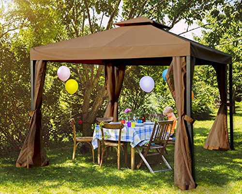 MASTERCANOPY Outdoor Patio Gazebo,Waterproof Soft-Top Steel Garden Gazebo Tent Lawn, Backyard and Deck(10x10FT,Brown)