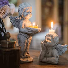 Candle Holders,Angel Candlestick Decoration Grocery Garden Courtyard Concrete Retro Small Oil Lamps Wedding Christmas Tabl...