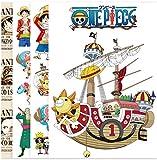 ZJJHX One Piece Sombrero de Paja Grupo Luffy Dibujos Animados Anime Pegatinas Maleta Pegatinas Impermeable Personalizado Computadora Monopatín Pegatinas Decorativas 42 Piezas