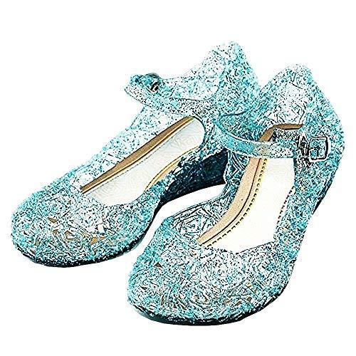 Scarpe Frozen Elsa - Anna - Cenerentola - Principessa - Bambina - Suola 20 Cm - Colore Blu con Glitter - Carnevale - Halloween - Cosplay - Idea Regalo Compleanno - Taglia 34