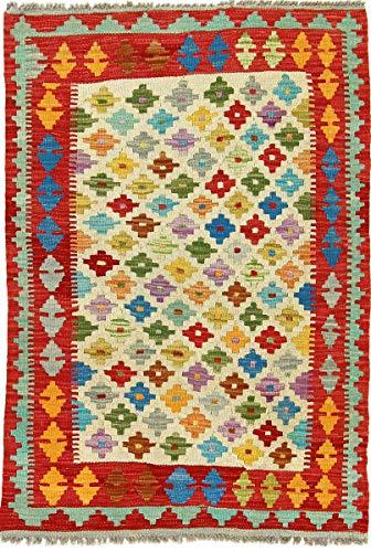 Nain Trading Kelim Afghan 123x84 Orientteppich Teppich Beige Handgewebt Afghanistan