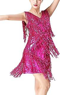 Vestidos de Fiesta Mujer Cortos Vestido Baile Latino Mujer Vestido Flecos y Entejuelas Vestido Sin Mangas Club Nocturno Danza Dress Traje de Baile Ropa Festival Fiesta Tem/áTica Banquete
