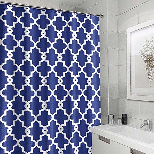 Nakital Duschvorhänge weiß Blue Top Qualität Anti-Schimmel Duschvorhang Digitaldruck inkl. 12 Duschvorhangringe für Badezimmer Art-I 180x180cm WC Zubehör Out of the