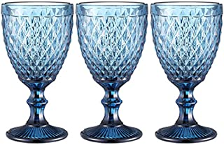 Wine Glasses set of 3 Red Wine Glass 10oz for Party Wedding Chalice Goblet Vintage Pattern Embossed Chalice Goblet (Blue)