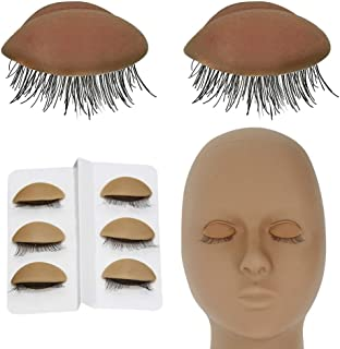 Replacement Eyelids for Mannequin Head Removable Realistic Eyelids with Eyelashes Extension Training Lash Mannequin Head E...