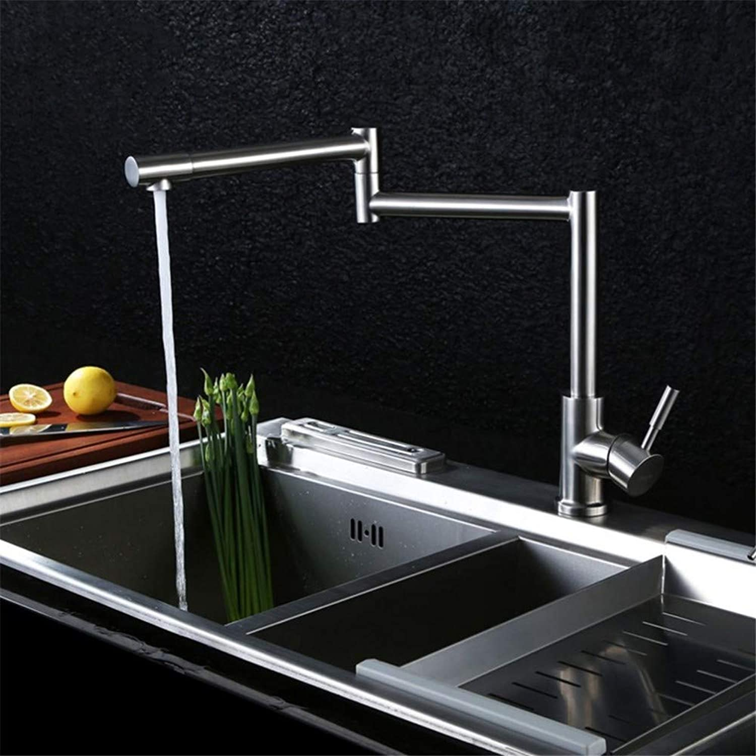 FZHLR Unleaded All 304 Stainless Steel Kitchen Faucet High Quality Cold and Hot Mixer Water Faucet,Brushed Nickle 360 Degree redation