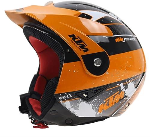 Zcx Casque De Moto Professionnelle   Casque De Décalque Orange   Doubleure Détachable Casque Intégral Anti-Choc ( Taille   S )