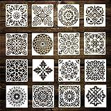 KiKiHong 16 Piezas Mandalas Plantillas Reutilizable Plantillas de Pintura Diferentes Patrones Painting Stencils para Paredes Decoración (Blanco 15x15cm)