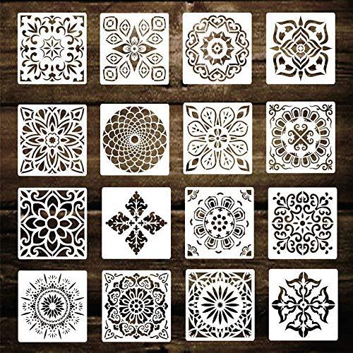 KiKiHong 16 Stück Mandala Schablonen Wiederverwendbar Unterschiedliche Muster Malwerkzeuge Vorlage für DIY Wandbodenfliesen Kunstbedarf 15cm x 15cm