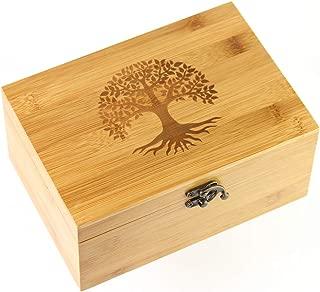 OIL LOVE Bamboo Essential Oils Storage Box - Holds 24 Oils (5mL - 15mL) - Tree of Life Design - Premium Essential Oils Box/Holder/Organizer