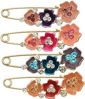 FENICAL 4pcs Flor Elegante Temperamento Broche Bufanda Hebilla Pin Broche suéter Cardigan Accesorios