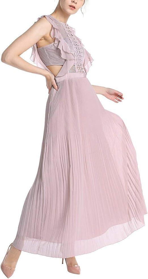 Apart Elegantes Damen Kleid Abendkleid Lang Rosa Mesh Oberteil Plissierter Rockpart Amazon De Bekleidung
