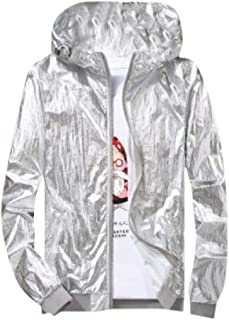 Howely Men's Zip Up Hoodie Glossy Long Sleeve Fashion Classic Outwear Jacket