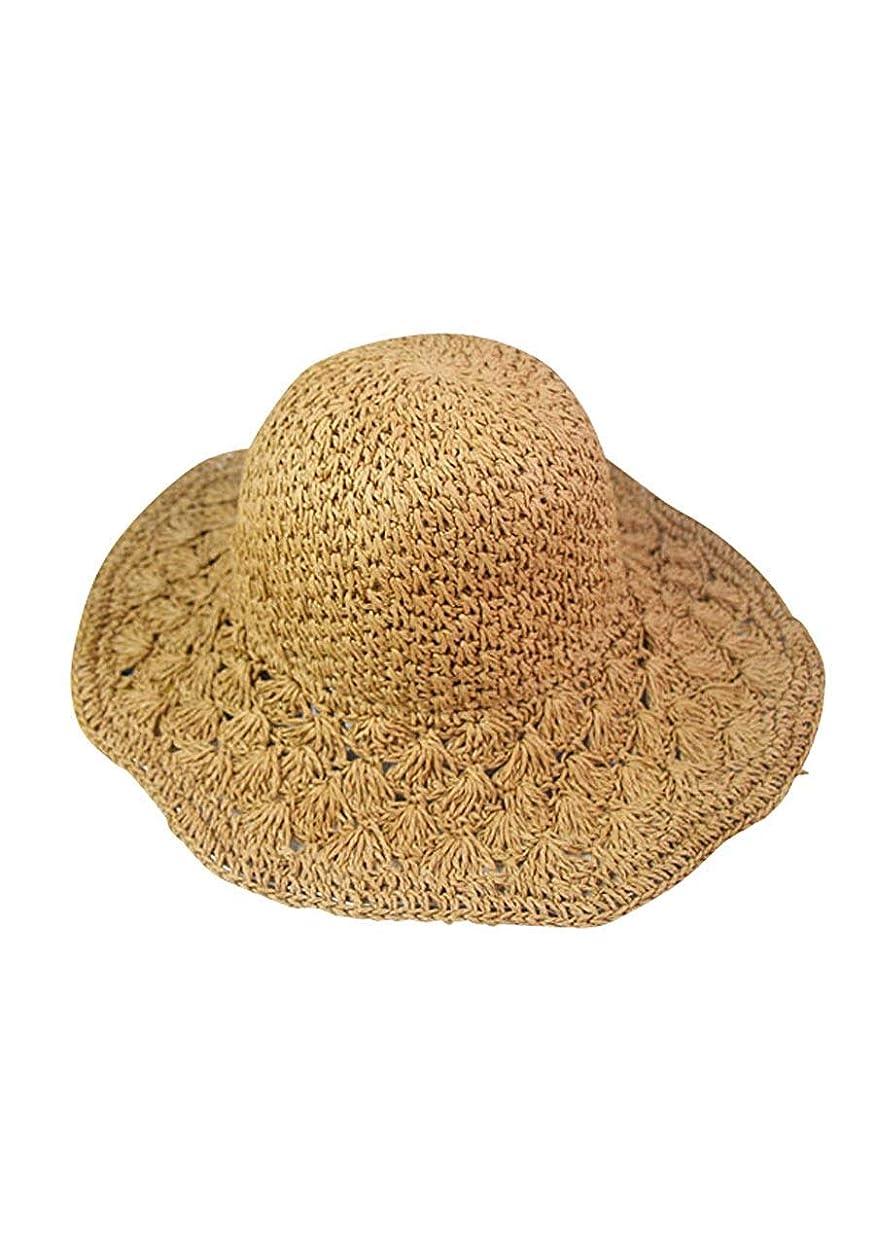 企業豚肉伝染病麦わら 帽子 折りたたみ レディース ストローハット 紫外線 uv カット 夏 日よけ ライトブラウン クリーム フリーサイズ