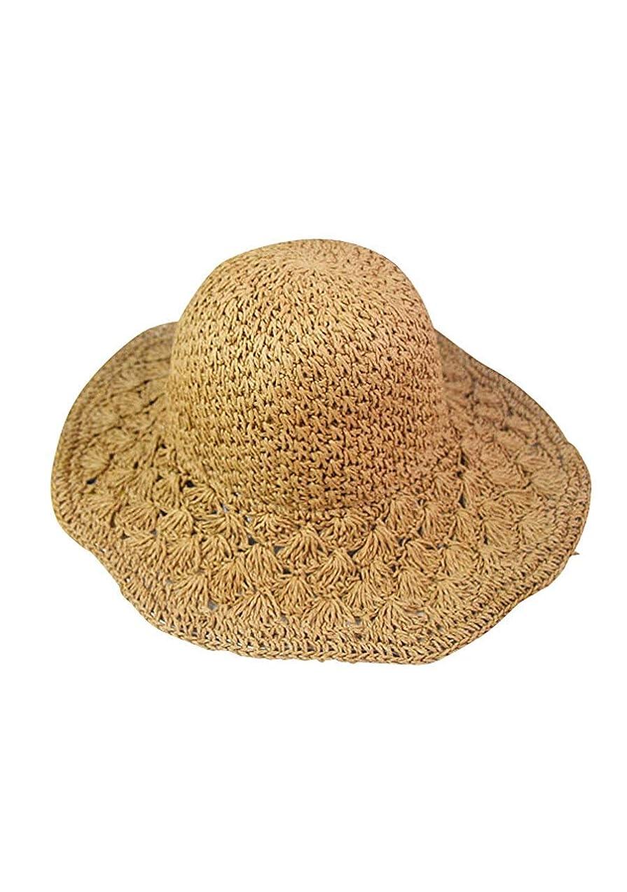 見物人交差点加害者麦わら 帽子 折りたたみ レディース ストローハット 紫外線 uv カット 夏 日よけ ライトブラウン クリーム フリーサイズ