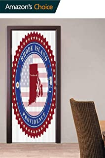 Door Wall Sticker, Retro Providence Door Stickers Self Adhesive Peel & Stick Repositionable Fabric Mural, 30.3W x 78.7H Inches