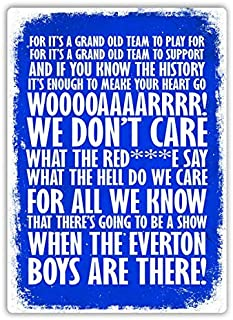 jkhflahufeillay Football Chant Grand Old Time Everton Fan Song Tin Sign Metal Sign Metal Poster Metal Decor
