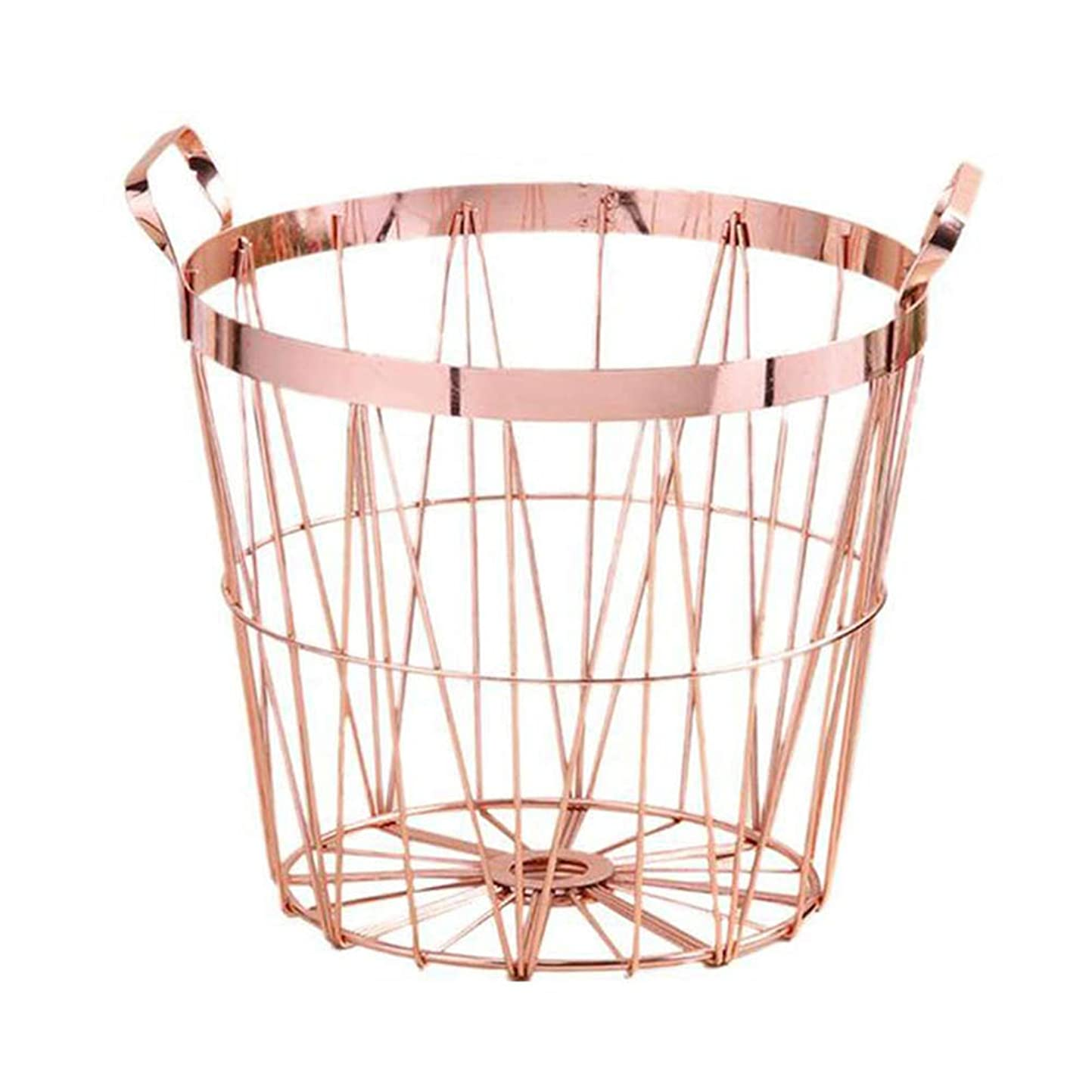 覚醒処分したファイルXlp ローズゴールドラウンドアイアンワイヤー収納バスケット付きキッチンバスルーム