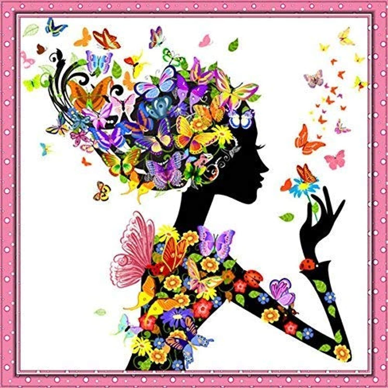 Kisstaker 25x25cm 5D Beautiful Girl with Butterfly DIY Diamond Painting Rhinestone Cross-stitch Kit