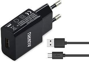 Aukru 5V 2A Cargador con Micro USB Cable para Samsung Galaxy/Sony/HTC/Nokia/Huawei/ASUS/Motorola/Blackberry/Otros Dispositivos Android etc - Negro