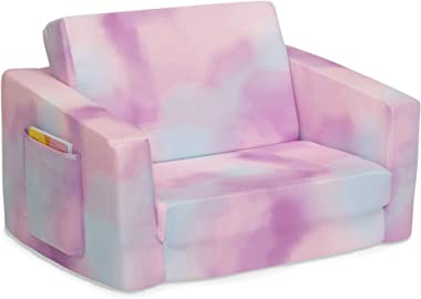 Delta Children Cozee Flip Out Chair - 2-in-1 Convertible Chair to Lounger for Kids, Pink Tie Dye