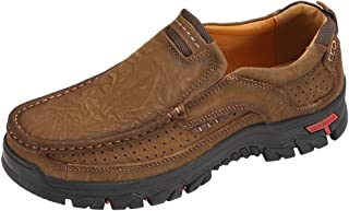 Men's Hiking Shoes Casual Slip-on Loafers Genuine Leather Comfortable Walking Shoe for Male