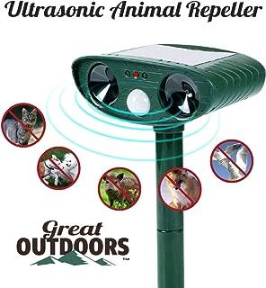 Great Outdoors Ultrasonic Animal Repeller - Eco-Friendly and Waterproof Solar Repellent with Sound Control – Sonic Deterrent for Bird Deer Cat Dog Squirrel Raccoon Rabbit Fox - Garden Protection