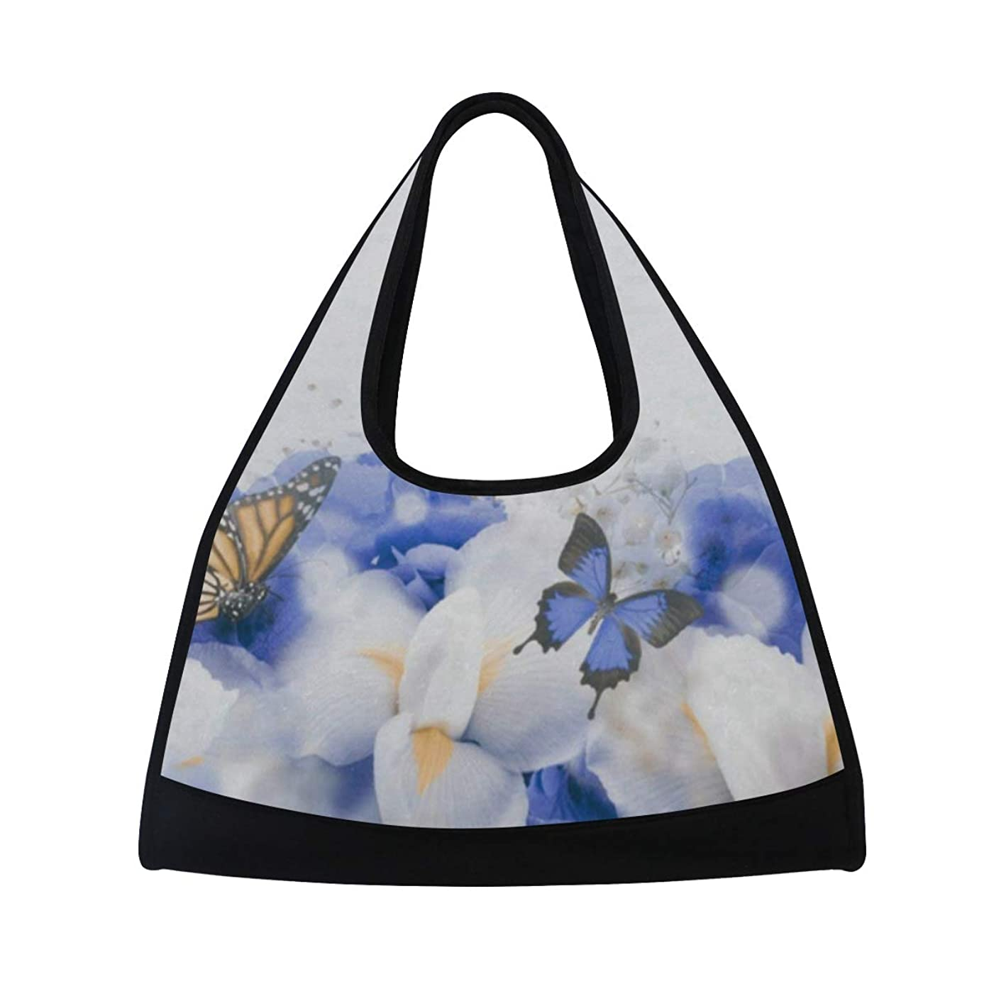 Gym Bag Butterfly In Flowers Women Yoga Canvas Duffel Bag Tennis Racket Tote Bags