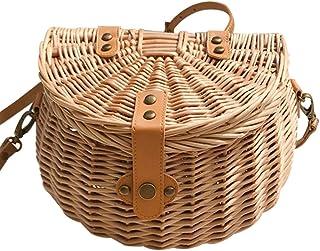 Sponsi Cesta de bicicleta N/Z, cesta de bicicleta con manillar delantero para bicicleta para niñas y niños, cesta de bicicleta tejida de mimbre vintage hecha a mano, mochila pequeña para niños