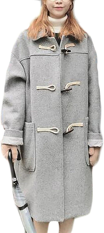FLCH+YIGE Women's Horn Button Closure Wool Blend Coat Jacket Long Parka Overcoat