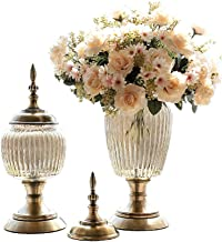 Flower Bottle Vase Modern Decoration Wedding Center Metal Base Set with Dried Flowers (1 Set 2 Pieces)